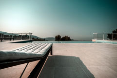 Private swimming pool. Modern villa in Nice, France. Royalty Free Stock Photo