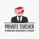 Private teacher logo. Vector logo template for a private teacher . Illustration of a well-read man Royalty Free Stock Photo