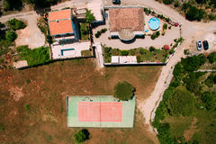 The private tennis court at the villa by the sea, Montenegro, Ad Stock Photography