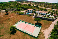 The private tennis court at the villa by the sea, Montenegro, Ad Royalty Free Stock Photos