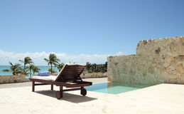 Private terrace. With pool in a caribbean resort Royalty Free Stock Image