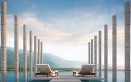 Private Terrasse auf Swimmingpool mit Wiedergabebild des Bergblicks 3d Stockfotos