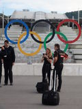 Private traders arriving events are photographed against the backdrop of the . Sochi Autodrom  2014 FORMULA 1 RUSSIAN GRAND PRIX . Stock Images