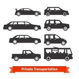 Private transportation. Set of various cars. And vehicles icons Royalty Free Stock Image