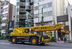 Private truck with crane on street royalty free stock photo