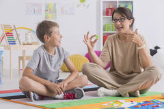 Private tutor teaching child Royalty Free Stock Photography