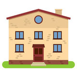 Private two-storey house with chimney on a white background. Vector illustration Royalty Free Stock Image