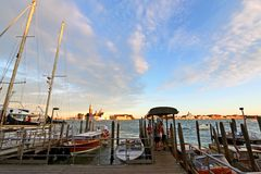 Private Venice Water taxis in the evening in Venice, Italy Stock Photos