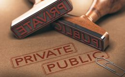 Private Versus Public Sectors. 3D illustration of two rubber stamps over paper background. Private versus public sectors concept Royalty Free Stock Photos