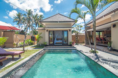 Private villa with pool outdoor Royalty Free Stock Image
