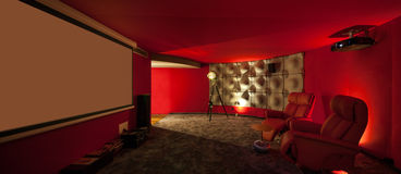 Private villa room, cinema Royalty Free Stock Images