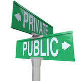 Private Vs Public Two Way Street Road Signs Comparison Stock Photos