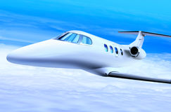 Private white jet. Plane in the blue sky Stock Photo