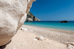 Private white sand beach. Crystal clear water at Keri, Zakynthos Greece royalty free stock photos