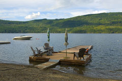 Private wooden dock. On the Shuswap Lake, British Columbia, Canada Stock Image
