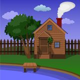 A wooden village sauna on the shore of the lake. Private Wooden village sauna on the lake shore Royalty Free Stock Images