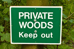 Private Woods Sign. A sign indicating that woods are private property and people should keep out Royalty Free Stock Photography