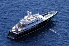 Private Yacht Anchored Stock Photography