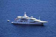 Private yacht anchored stock photos