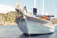 Private Yacht Under Sail in Mediterranean Stock Photos