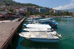 Private yachts and boats in the marina the seaport of Alanya. Stock Image