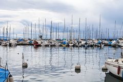 Private yachts in Lausanne`s harbor Stock Image