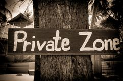 Private zone sign Stock Images