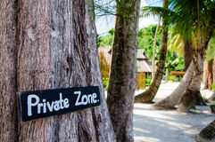 Private zone sign Stock Image