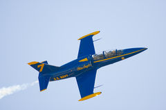 A privately owned jet preforms. Punta Gorda, Fl.- March 21: A privately owned French jet painted to resemble a Blue Angels aircraft preforms during the Florida Stock Photos