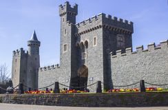 The Privately owned Killyleagh Castle in Northern Ireland. 28 March 19 An ancient Keep at the Privately owned Killyleagh Castle in County Down Northern Ireland stock photo