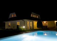 Privater Swimmingpool nachts Lizenzfreie Stockfotos