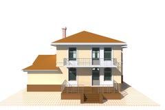 Privates Häuschen, Illustration des Wohngebäudes 3v auf weißem Hintergrund Lizenzfreies Stockfoto