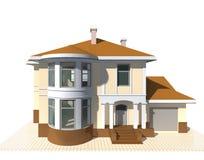 Privates Häuschen, Illustration des Wohngebäudes 3v auf weißem Hintergrund Lizenzfreies Stockbild