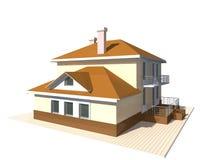 Privates Häuschen, Illustration des Wohngebäudes 3v auf weißem Hintergrund Lizenzfreie Stockfotografie