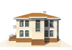Privates Häuschen, Illustration des Wohngebäudes 3v auf weißem Hintergrund Stockfotos
