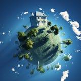 Privates Haus auf kleinem Planeten Lizenzfreies Stockbild
