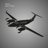 Privatflugzeugvektor-Illustrationsikone Zweistrahlige angetriebene Flugzeuge Auch im corel abgehobenen Betrag Stockbild