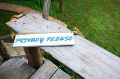 Privatleben bitte Signage Stockbilder