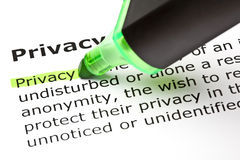 ?Privatleben? markiert im Grün Stockbilder