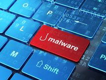 Privatlebenkonzept: Fischerei-Haken und Schadsoftware auf Computertastaturhintergrund Stockfoto