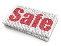 Privatlebenkonzept: Safe auf Zeitungshintergrund Stockbild