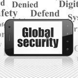 Privatlebenkonzept: Smartphone mit globaler Sicherheit auf Anzeige Lizenzfreie Stockfotos