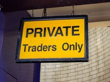 Prive traders only yellow sign royalty free stock photography