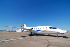 Privet jet. Parked on the runway of small airport royalty free stock image