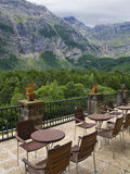 Privileged Balcony. Beautiful balcony with awesome views to the mountain range of Ordesa Monte Perdido National Park in Bielsa Stock Images