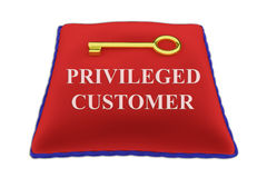 Privileged Customer concept. 3D illustration of PRIVILEGED CUSTOMER Title on red velvet pillow near a golden key, isolated on white Royalty Free Stock Image