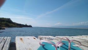 Privlaka, pont sur la plage Images libres de droits