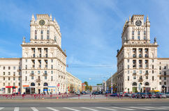 Privokzalnaya square Gates of Minsk, Minsk, Belarus. MINSK, BELARUS - OCTOBER 1, 2016: Unidentified people go on Privokzalnaya square. Architectural complex in royalty free stock photos