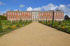 Privy Garden view. London, UK - September 25, 2015: view of Hampton Court Palace from the Privy Garden, a restoration of the garden in 1702 Stock Photography