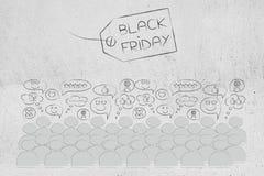 Prix à payer noir de vendredi avec le texte et la foule avec des réactions heureuses Photos stock